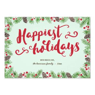 Cartão Não-Foto festiva do feriado da caligrafia da folha