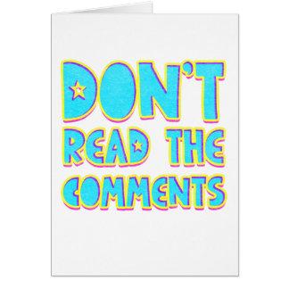 Cartão Não leia os comentários