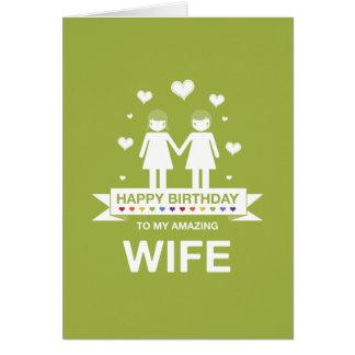 Cartão nao reto da esposa do feliz aniversario do