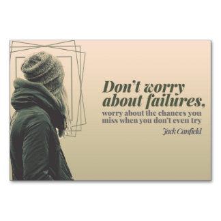 Cartão Não se preocupe sobre falhas