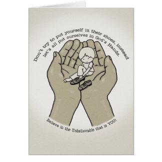 Cartão Nas mãos do deus
