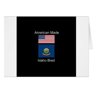 """Cartão """"Nascer americano. Idaho produziu"""" bandeiras e"""
