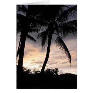 Cartão Nascer do sol da palmeira
