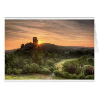 Cartão Nascer do sol do castelo de Corfe