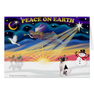 Cartão Nascer do sol do Xmas - Fox Terrier do brinquedo