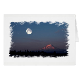 Cartão Nascer do sol e Moonrise sobre o Monte Rainier
