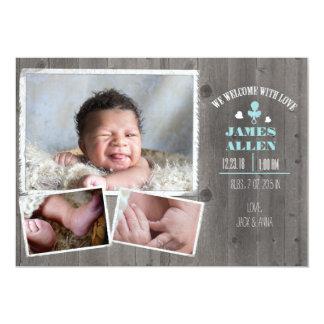 Cartão Nascimento de madeira rústico Annoucment do bebé