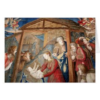 Cartão Nascimento do detalhe da tapeçaria do cristo