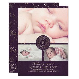 Cartão Nascimento floral das fotos do bebê do vintage do