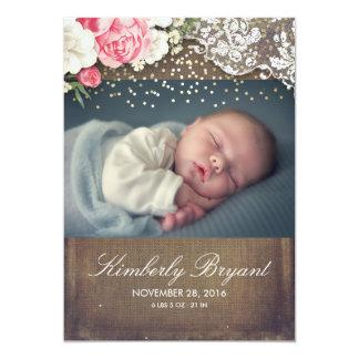 Cartão Nascimento floral do bebê da foto do ouro do laço