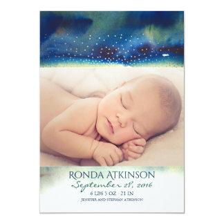 Cartão Nascimento recém-nascido da foto do bebê da noite