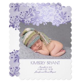 Cartão Nascimento recém-nascido da foto do bebê do laço