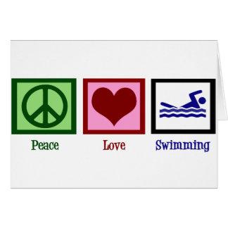 Cartão Natação do amor da paz