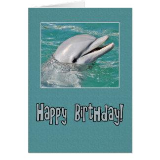 Cartão Natação do feliz aniversario do golfinho na água