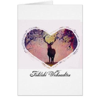 Cartão Natais joviais com coração de cervo