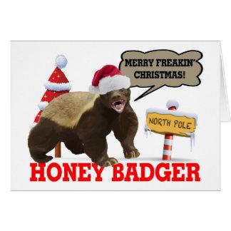 Cartão Natal alegre de Freakin do texugo de mel