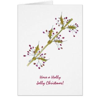 Cartão Natal alegre do azevinho natural do Natal
