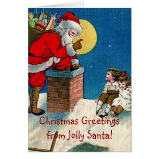 Cartão Natal alegre Greetin do papai noel w/Children do