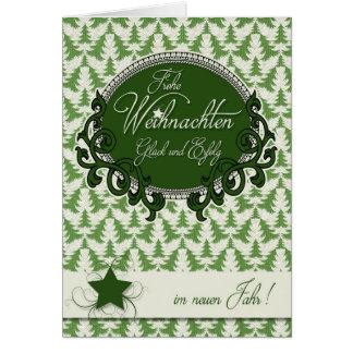 Cartão Natal alemão - árvores verdes retros do feriado