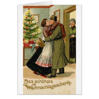 Cartão Natal alemão do soldado do vintage retro