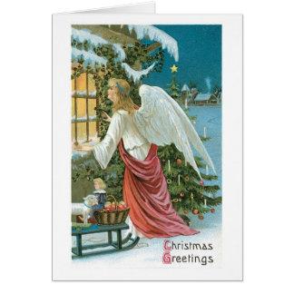 Cartão Natal antiquado, anjo