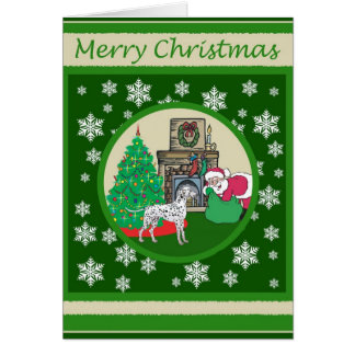Cartão Natal antiquado Dalmatian