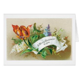 Cartão Natal antiquado, flor