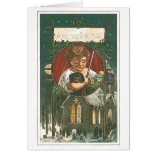 Cartão Natal antiquado, igreja