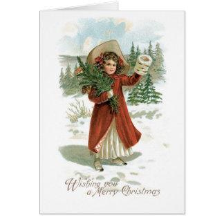 Cartão Natal antiquado, menina