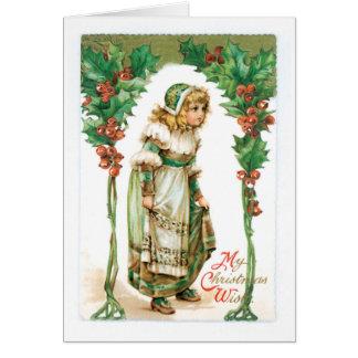 Cartão Natal antiquado, menina, azevinho