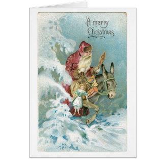 Cartão Natal antiquado, papai noel