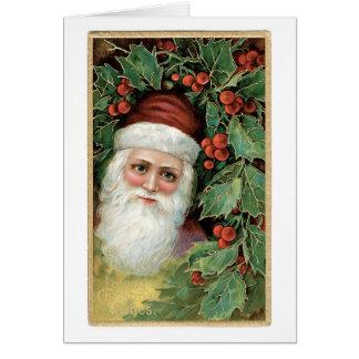 Cartão Natal antiquado, papai noel, azevinho