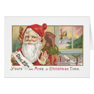 Cartão Natal antiquado, papai noel com Tonttu