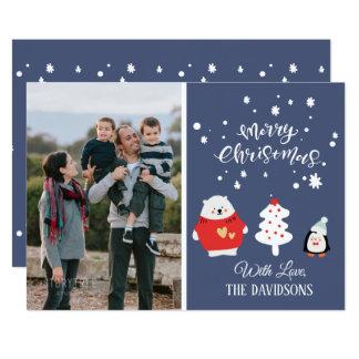 Cartão Natal azul bonito da foto de família