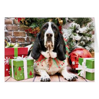 Cartão Natal - Basset Hound - jasmim
