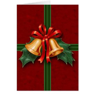Cartão Natal Bels e folhas do azevinho vermelhas