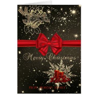 Cartão Natal Bels elegante, velas, arco vermelho