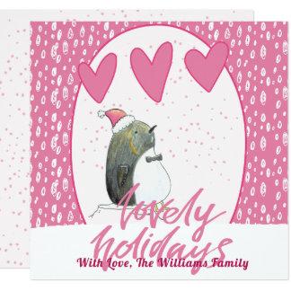Cartão Natal bonito bonito dos feriados | Pinguin