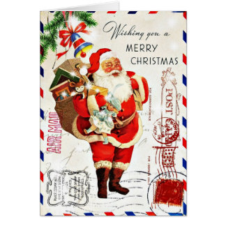 Cartão Natal bonito de Papai Noel do vintage