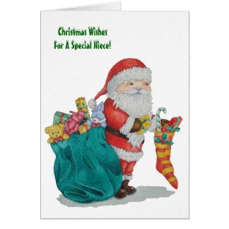 Cartão Natal bonito do pai com brinquedos e presentes no