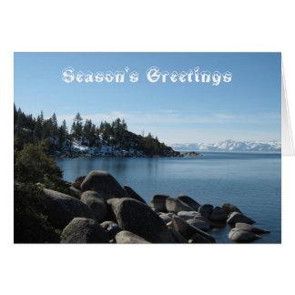 Cartão Natal cénico de Lake Tahoe das montanhas cobertos