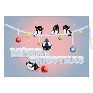Cartão Natal com Magpies e bolhas 2