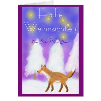 Cartão Natal com raposa e estrelas