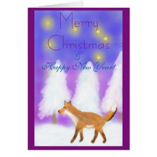 Cartão Natal com uma raposa, as estrelas & o país das