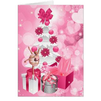 Cartão Natal cor-de-rosa temático da bailarina do