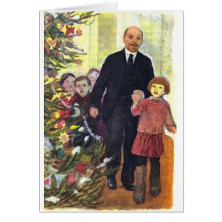 Cartão Natal da aguarela do vintage com Lenin