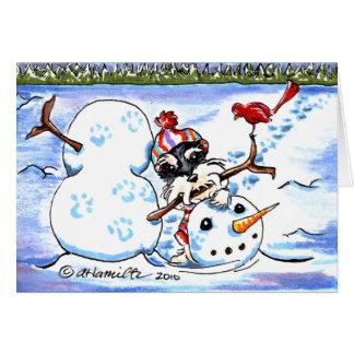 Cartão Natal da arte do boneco de neve do Schnauzer