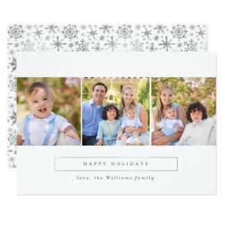 Cartão Natal da colagem da foto da prata boas festas