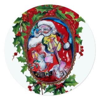 Cartão Natal da coroa de Hollyberry do VIOLINISTA de