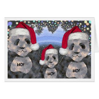 Cartão Natal da família da panda